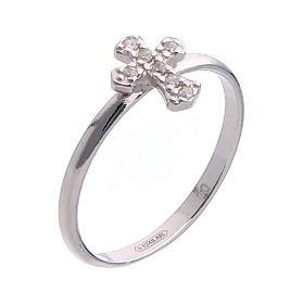 AMEN Ring Small Cross silver 925, Rhodium finish s1