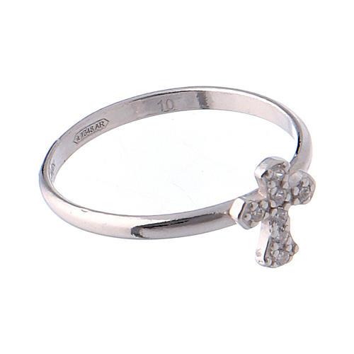 AMEN Ring Small Cross silver 925, Rhodium finish 4