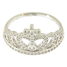 Ring AMEN Queen Crown silver 925 rhinestones s2