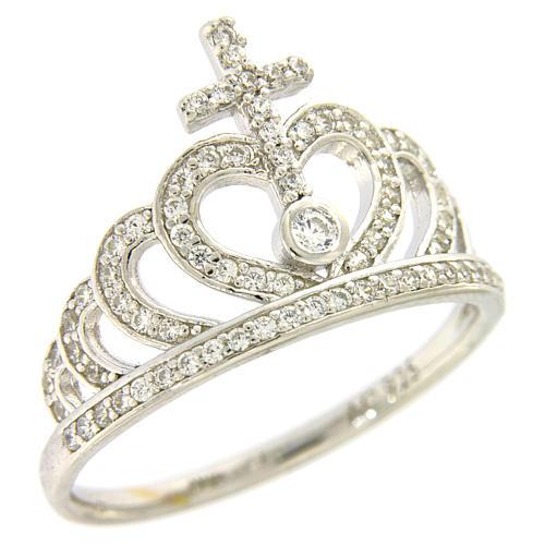 Ring AMEN Queen Crown silver 925 rhinestones 1