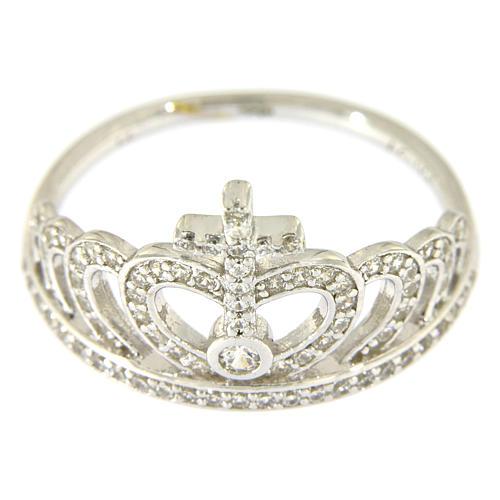 Ring AMEN Queen Crown silver 925 rhinestones 2