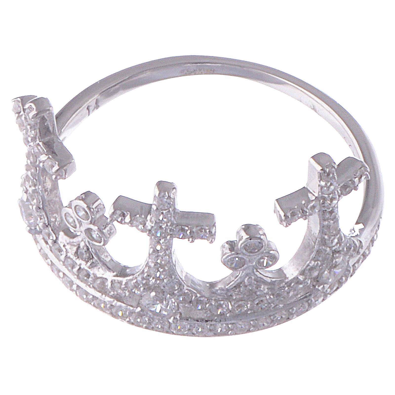 Anello AMEN Coroncina argento 925 zirconi 3