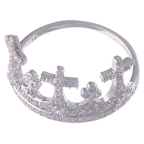 Anello AMEN Coroncina argento 925 zirconi 2