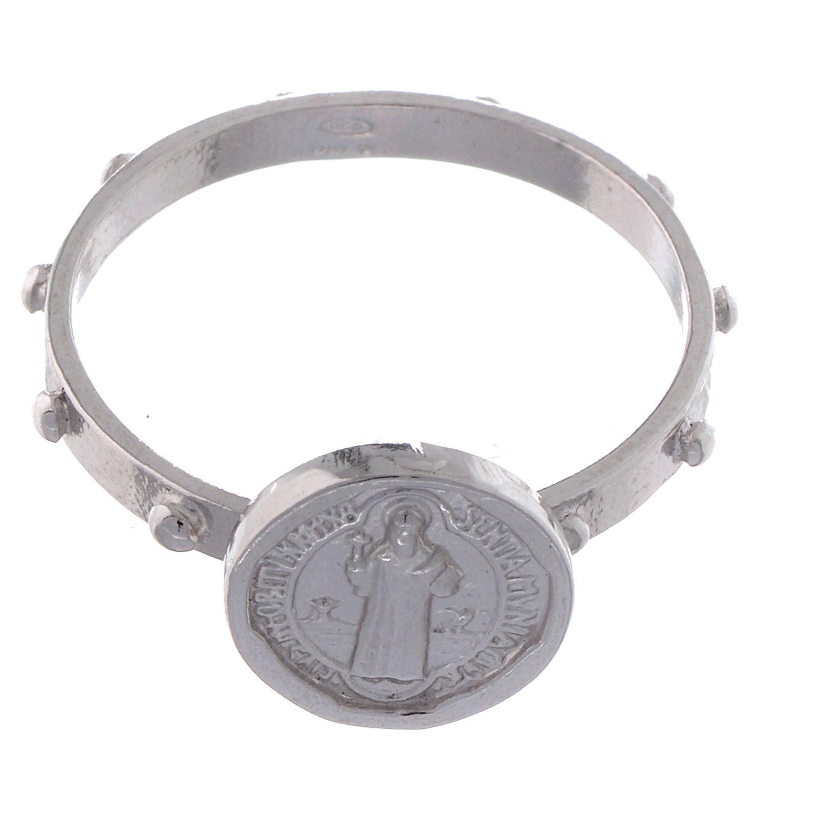 Saint Benedict single-decade ring in 925 silver 3