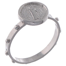 Saint Benedict single-decade ring in 925 silver s1
