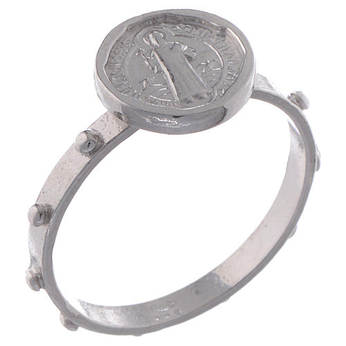 Saint Benedict single-decade ring in 925 silver 1
