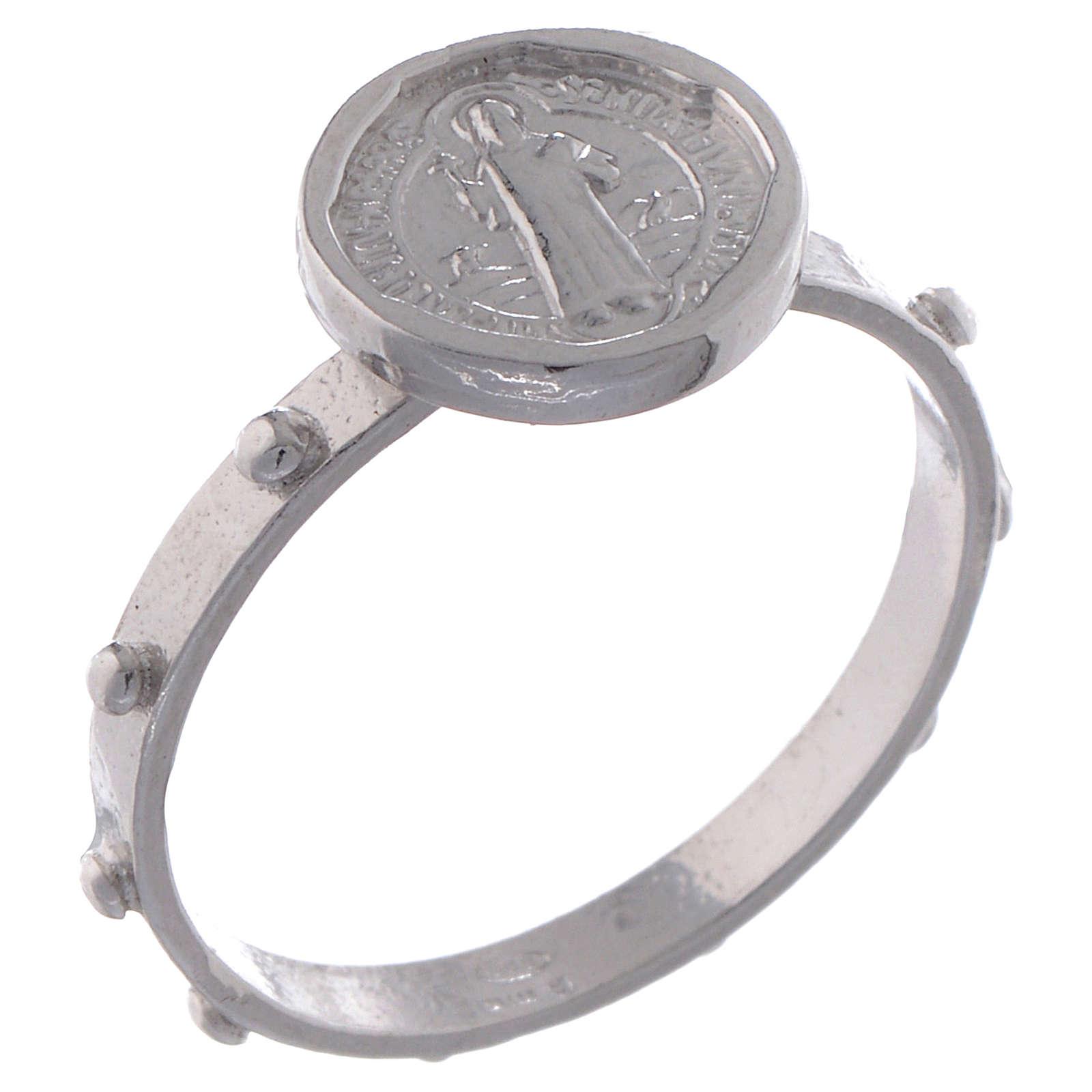 Saint Benedict single-decade ring in 925 silver 3