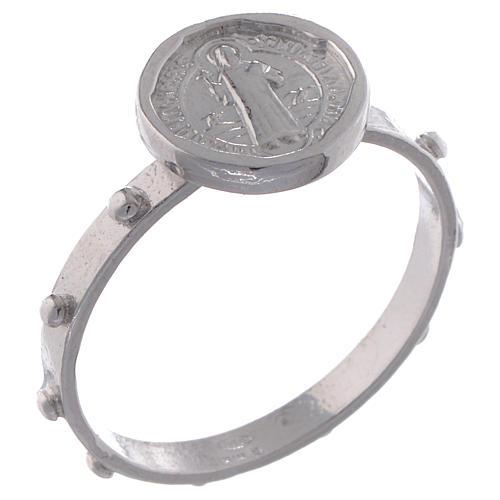Saint Benedict single-decade ring in 925 silver 1