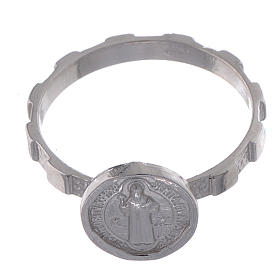 Saint Benedict medal ring in 925 silver s2
