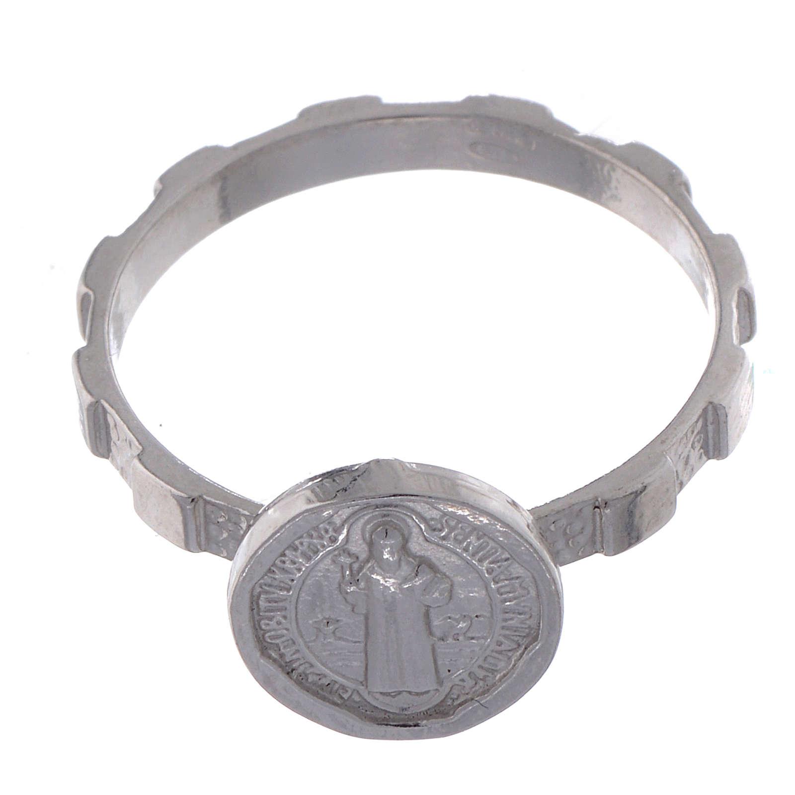 Bague en argent 925 avec médaille Saint Benoit 3