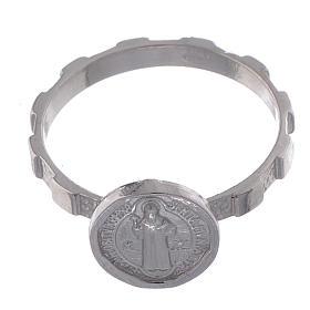 Bague en argent 925 avec médaille Saint Benoit s2