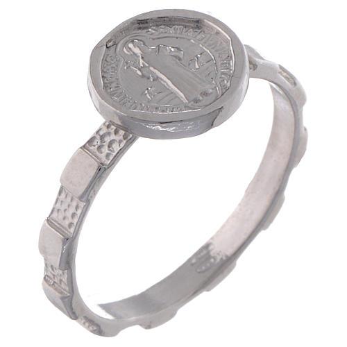 Anel terço prata 925 São Bento 1