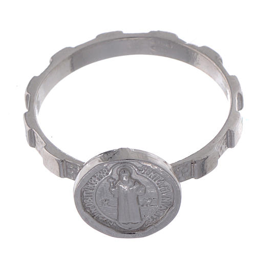 Anel terço prata 925 São Bento 2