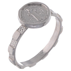 Saint Benedict medal ring in 925 silver s1
