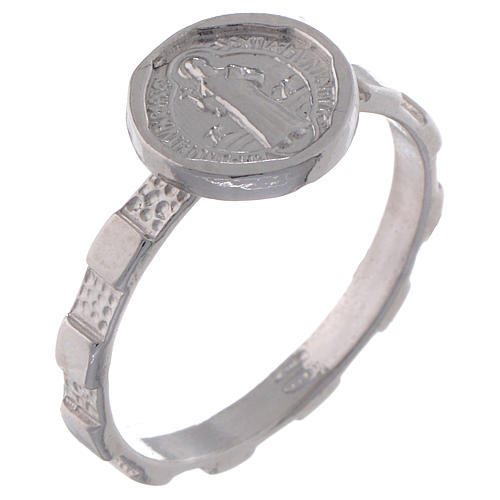 Saint Benedict medal ring in 925 silver 1