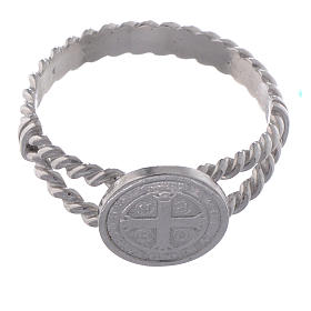 Saint Benedict intertwined ring in 925 silver s2