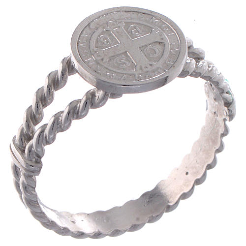 Saint Benedict intertwined ring in 925 silver 1
