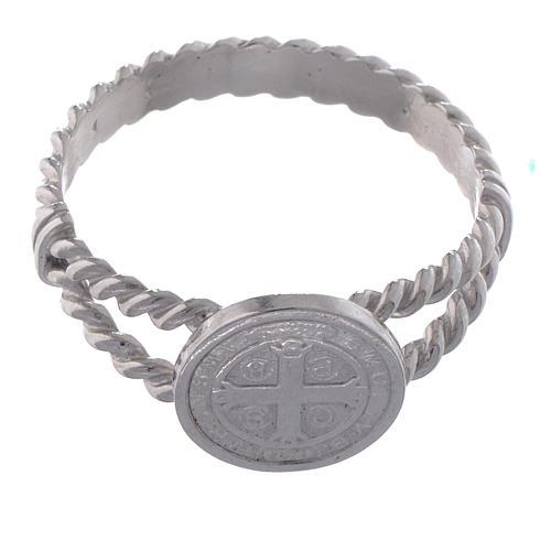 Anello San Benedetto intreccio argento 800 2