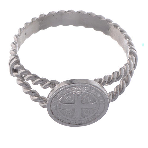Saint Benedict intertwined ring in 925 silver 2