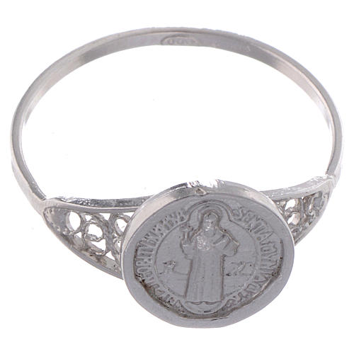Bague Saint Benoît fine argent 800 2