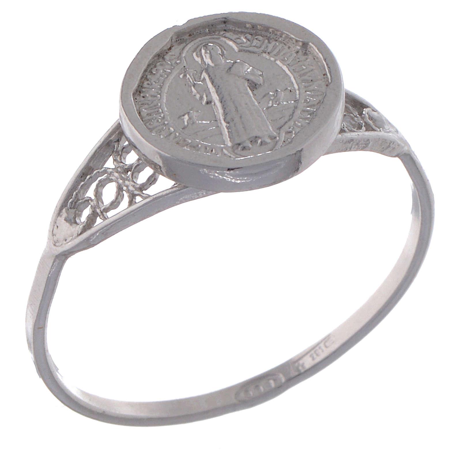 Anello San Benedetto fine argento 800 3