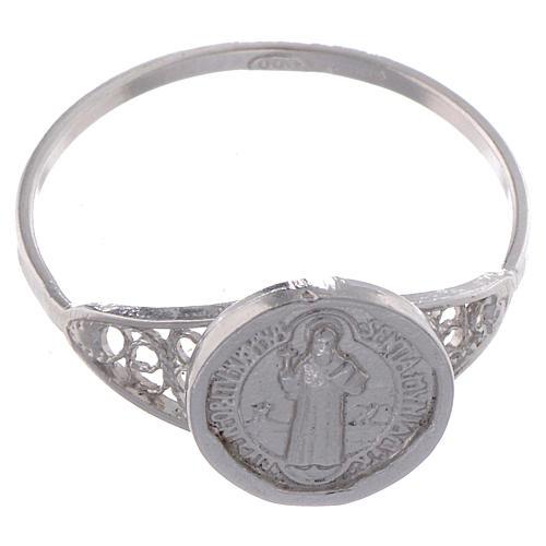 Anello San Benedetto fine argento 800 2