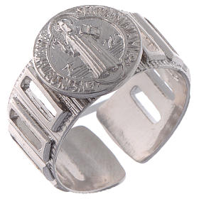 Saint Benedict ring in 925 silver adjustable s1