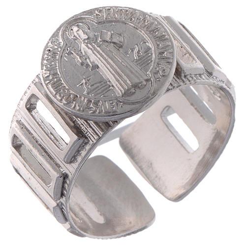Saint Benedict ring in 925 silver adjustable 1