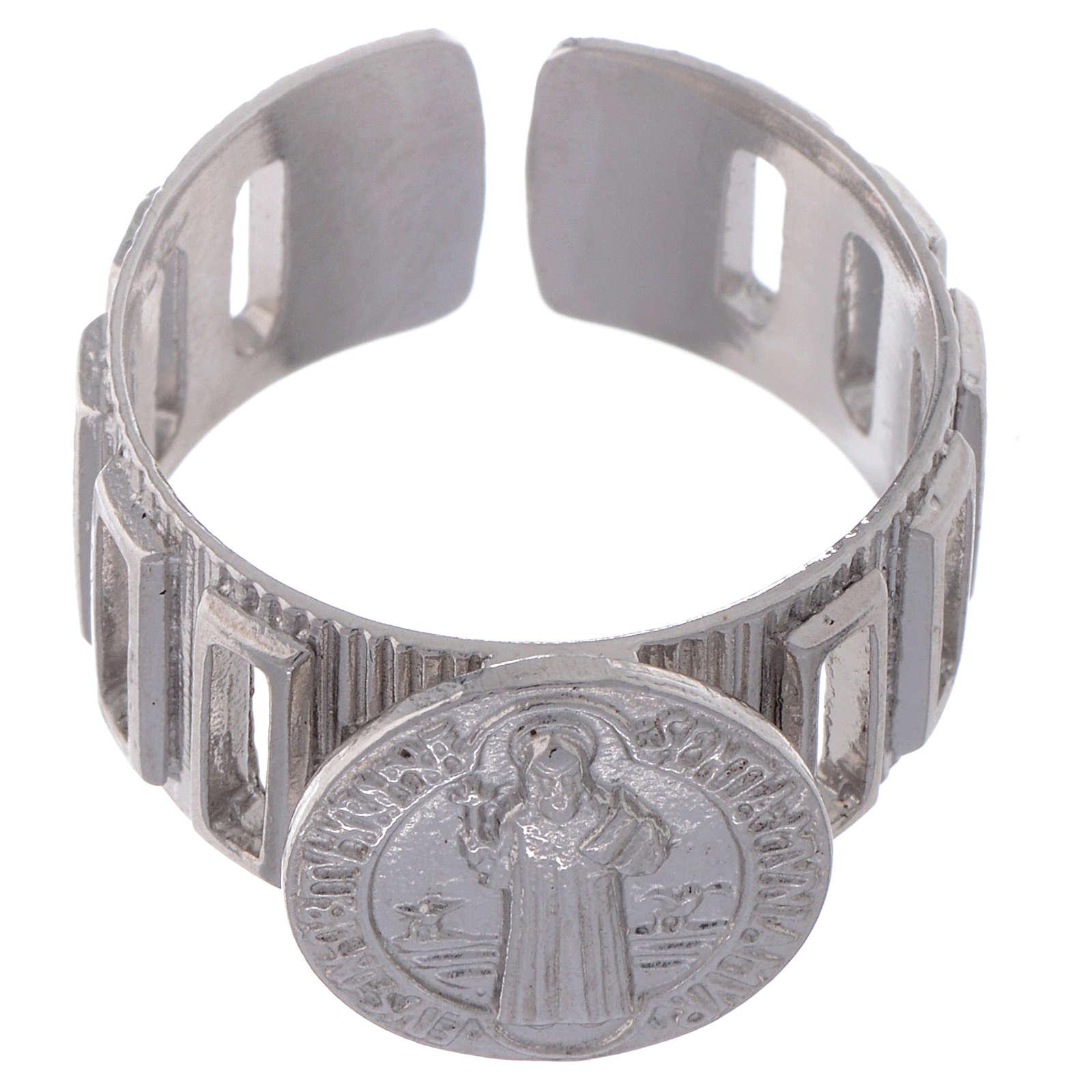 Bague dizianier large Saint Benoît argent 925 3