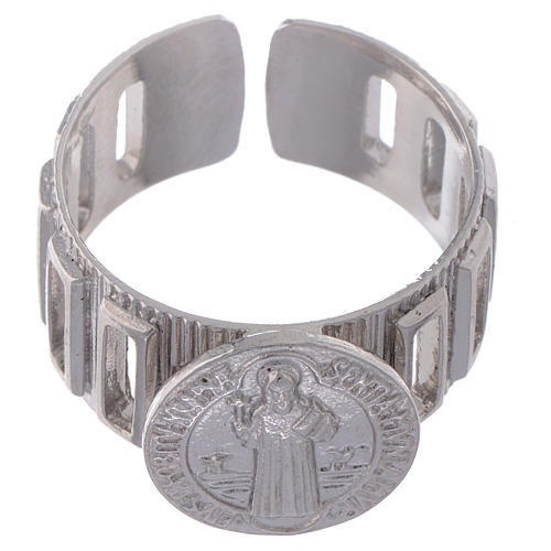 Bague dizianier large Saint Benoît argent 925 2