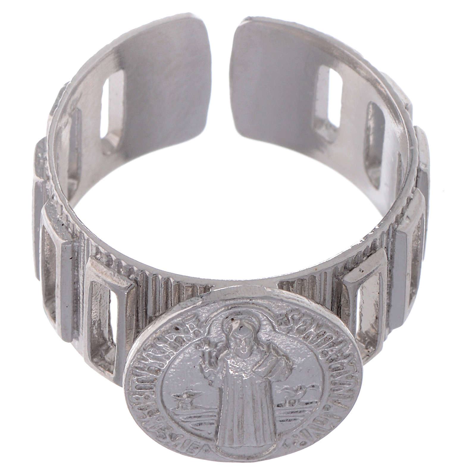 Saint Benedict ring in 925 silver adjustable 3