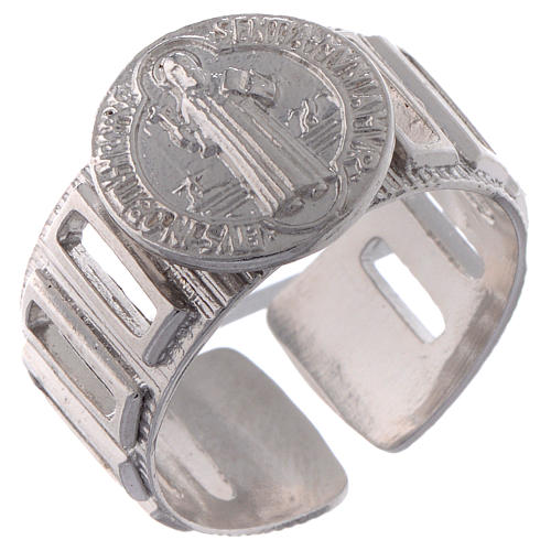 Saint Benedict ring in 925 silver adjustable 1
