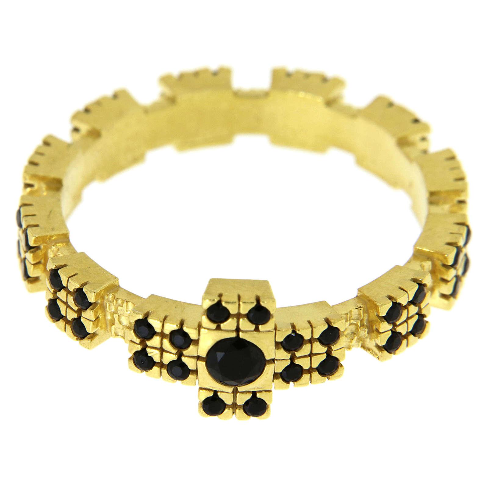 Anello in argento 925 dorato con zirconi neri 3