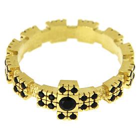 Anello in argento 925 dorato con zirconi neri s2