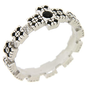 Ring in sterling silver with black zircons, rhodium plated s3