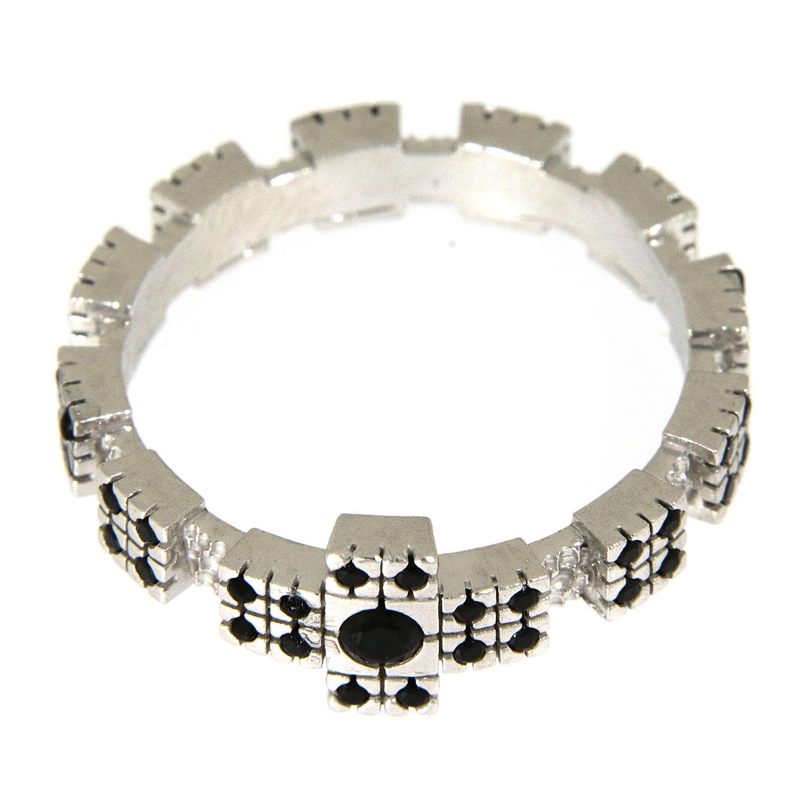 Anello argento 925 rodiato con zirconi neri 3