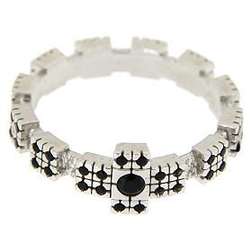 Anello argento 925 rodiato con zirconi neri s4