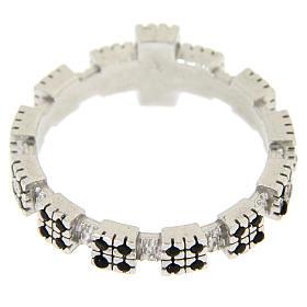Anello argento 925 rodiato con zirconi neri s5