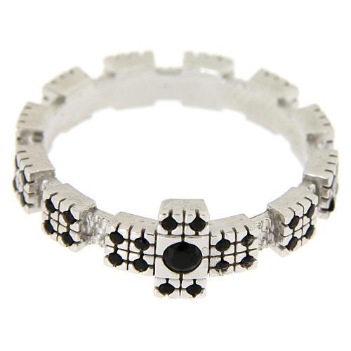 Anello argento 925 rodiato con zirconi neri 4