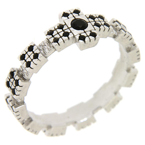 Ring in sterling silver with black zircons, rhodium plated 3