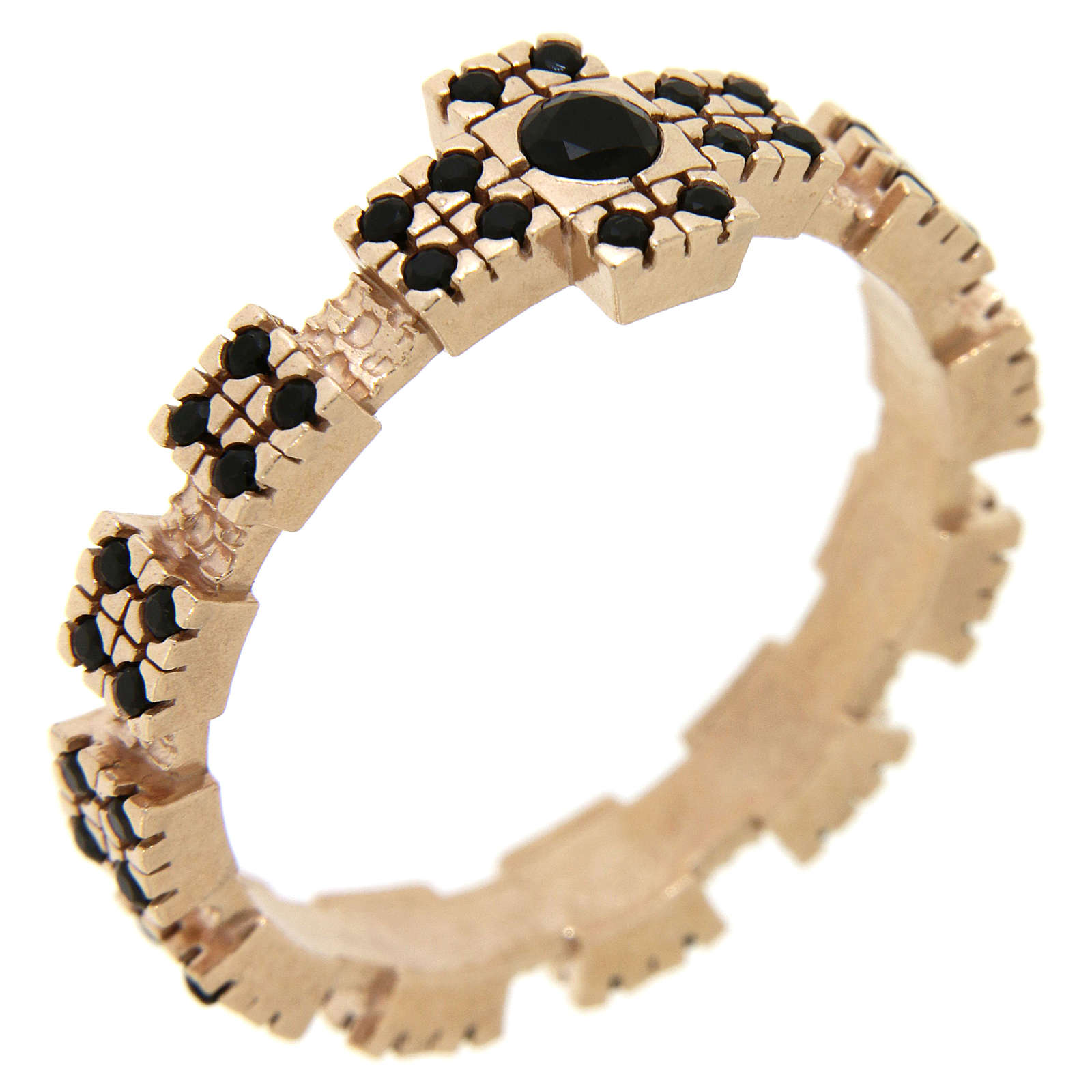 Anello argento 925 rosato con zirconi neri 3