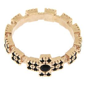 Anello argento 925 rosato con zirconi neri s2