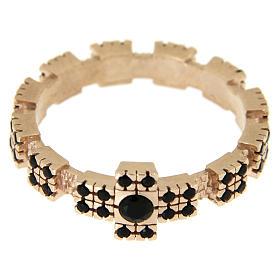 Anello argento 925 rosato con zirconi neri s6