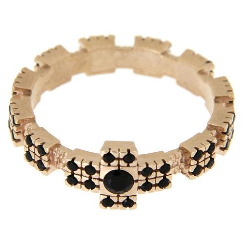 Anello argento 925 rosato con zirconi neri 6