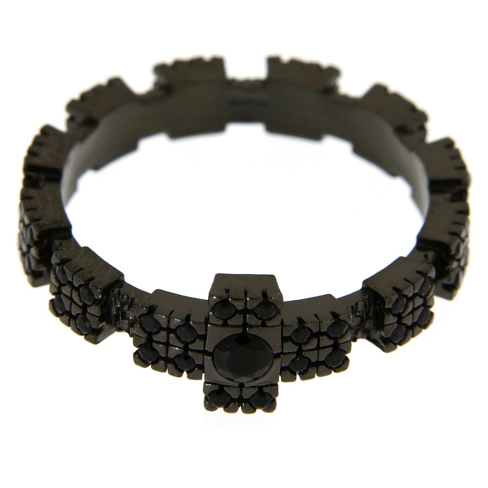 Anello argento 925 nero con zirconi neri 3