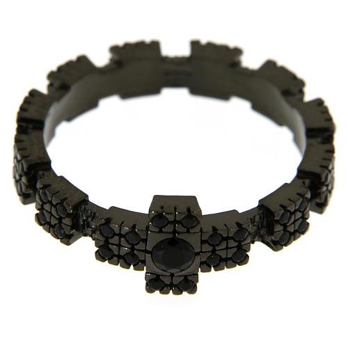 Anello argento 925 nero con zirconi neri 2
