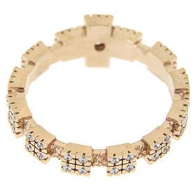 Anello rosato in argento 925 con zirconi trasparenti s3