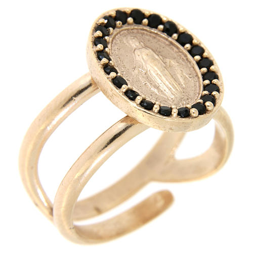 Ring in 925 silver with black zircons Miraculous Medal, rose-coloured 1