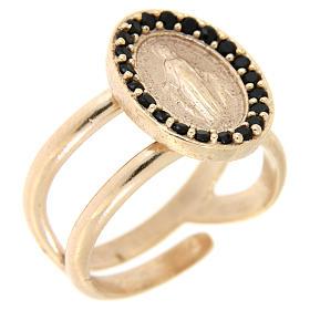 8db8e822bbcb Anillos oración  Anillo ajustable plata 925 rosada Medalla Milagrosa  zircones negros ...