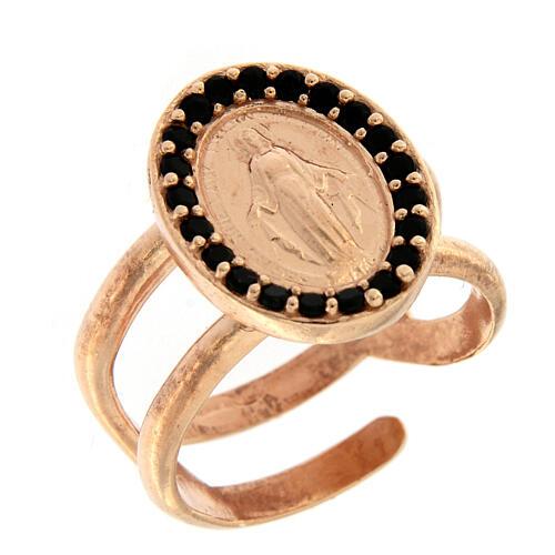 Anillo ajustable plata 925 rosada Medalla Milagrosa zircones negros